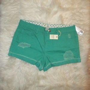Forever21 Distressed Denim Shorts Teal Aqua